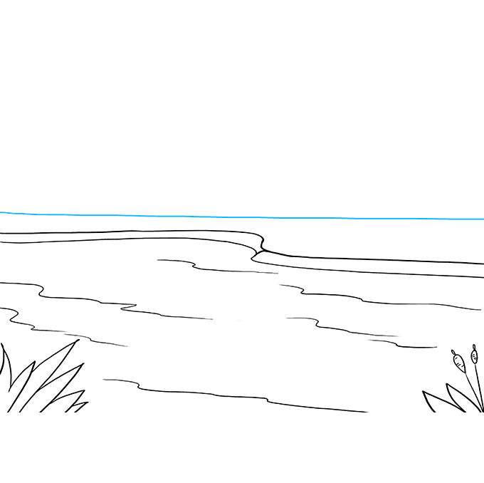 How to Draw Lake: Step 3