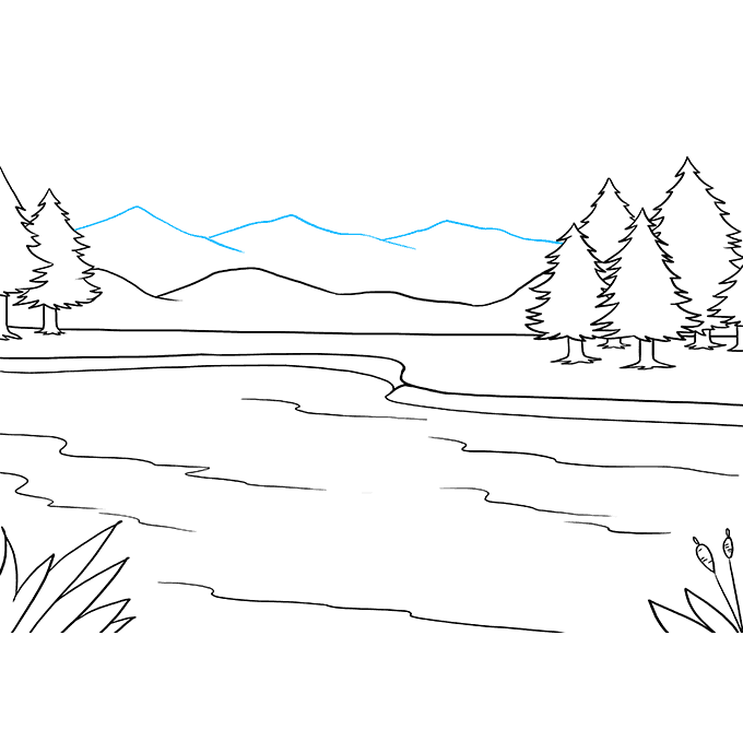 How to Draw Lake: Step 8