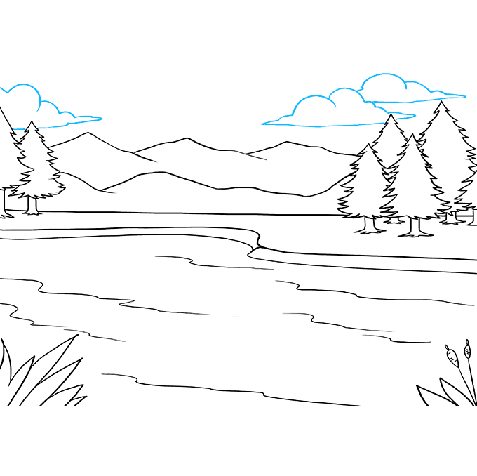 How to Draw Lake: Step 9