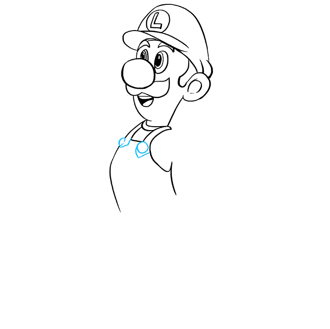How to Draw Luigi from Super Mario Bros: Step 5