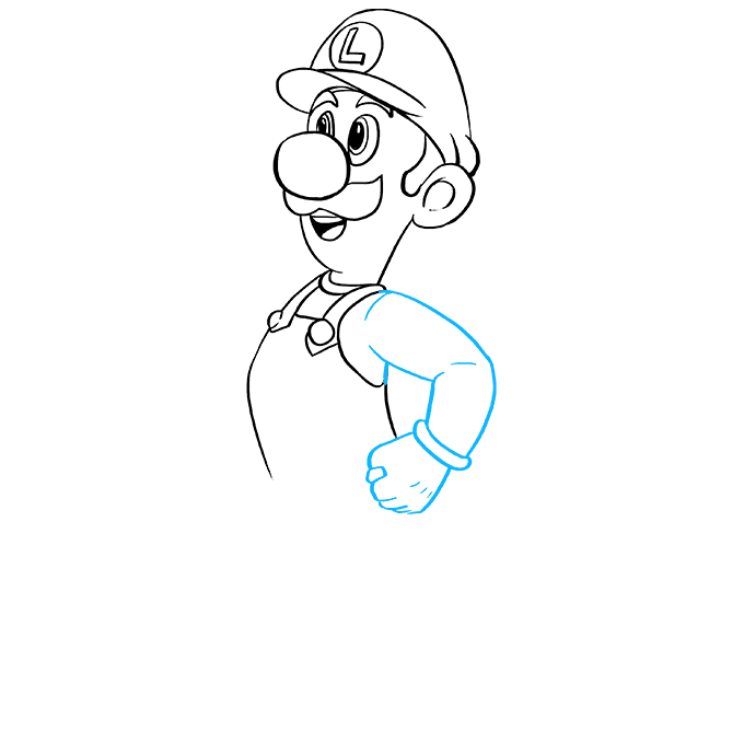 How to Draw Luigi from Super Mario Bros: Step 6