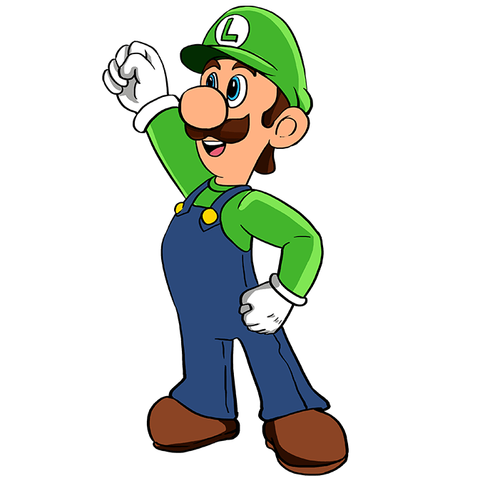 How to Draw Luigi from Super Mario Bros: Step 10