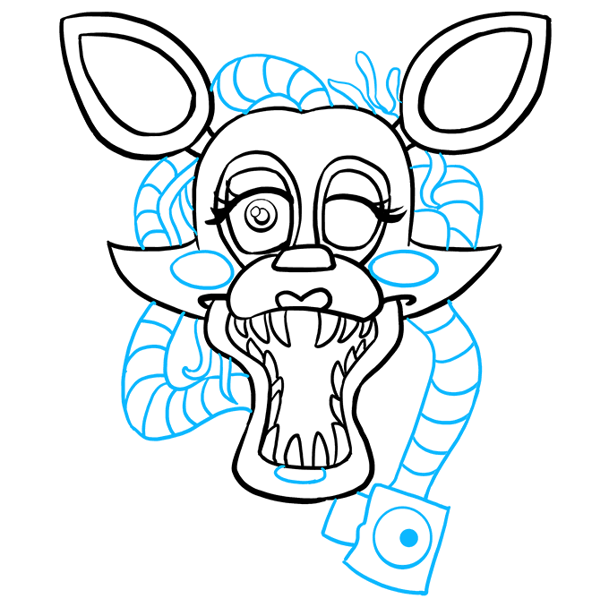 How to Draw Mangle from Five Nights at Freddy's: Step 9