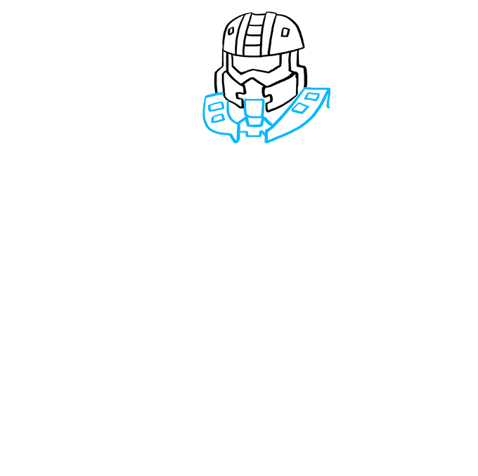 How to Draw Master Chief from Halo: Step 3