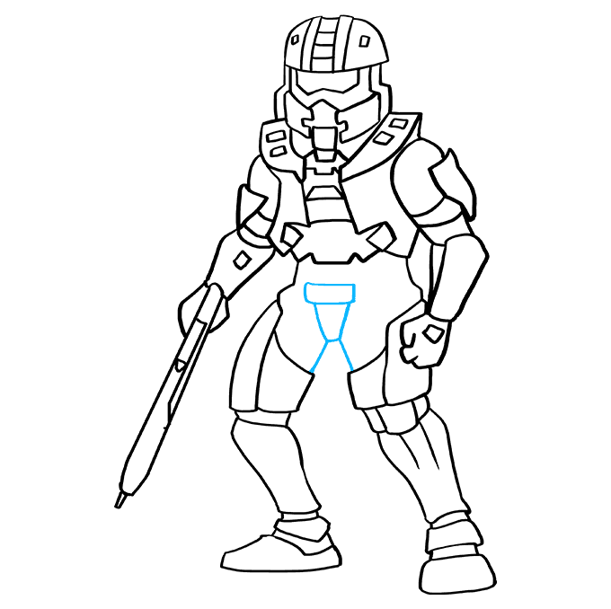 How to Draw Master Chief from Halo: Step 9