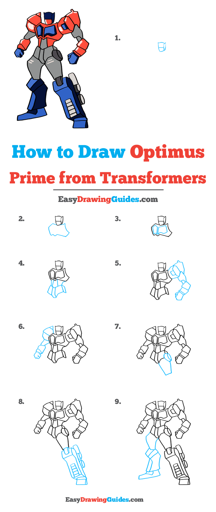 How to Draw Optimus Prime from Transformers Step by Step Tutorial Image