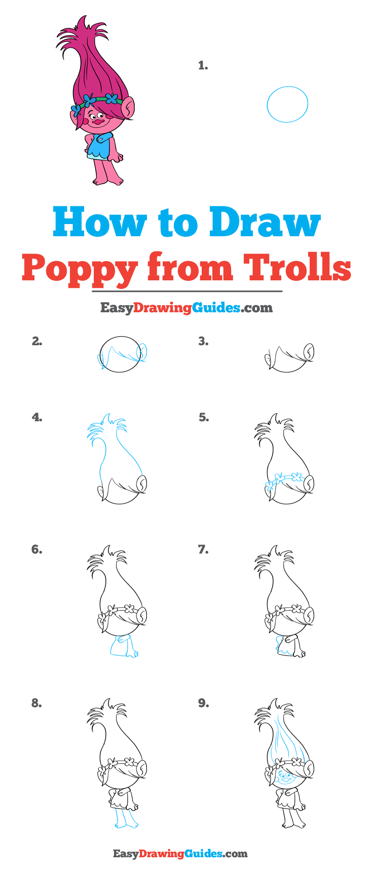 How to Draw Poppy from Trolls Step by Step Tutorial Image