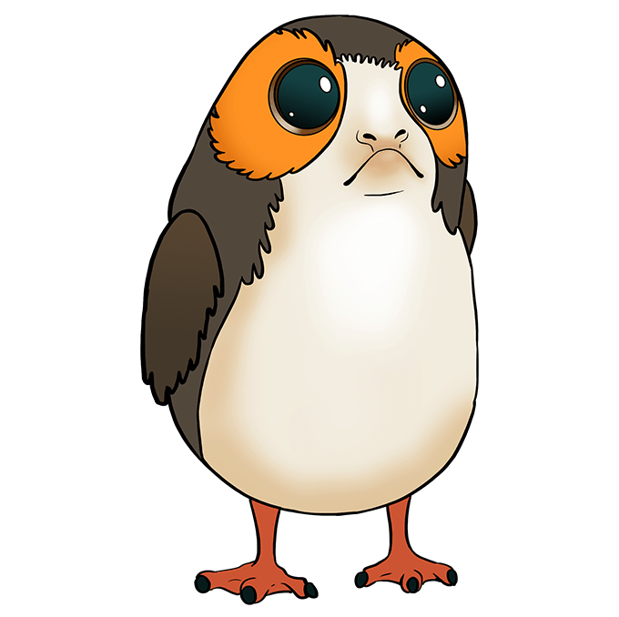 How to Draw Porg from Star Wars: Step 10