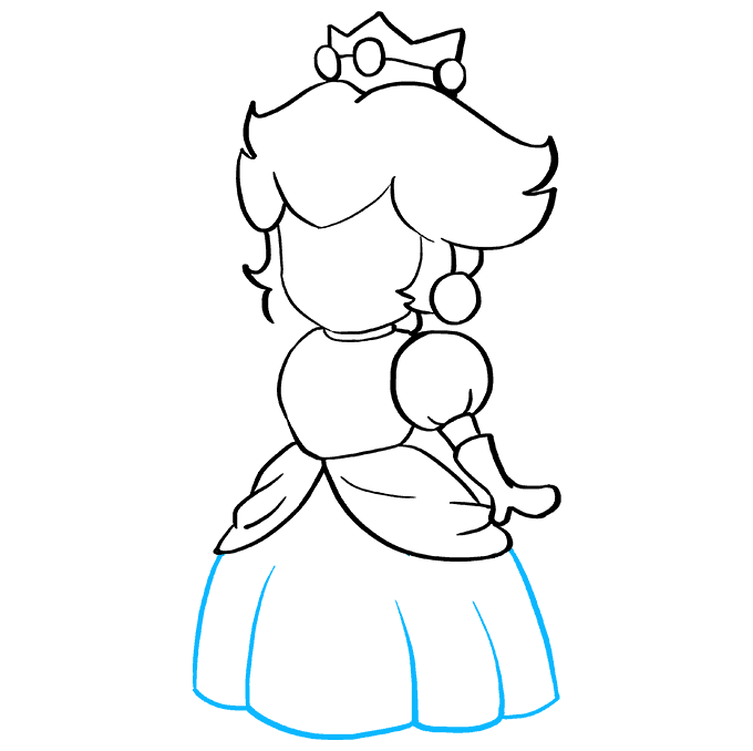How to Draw Princess Peach from Super Mario Bros Step 06