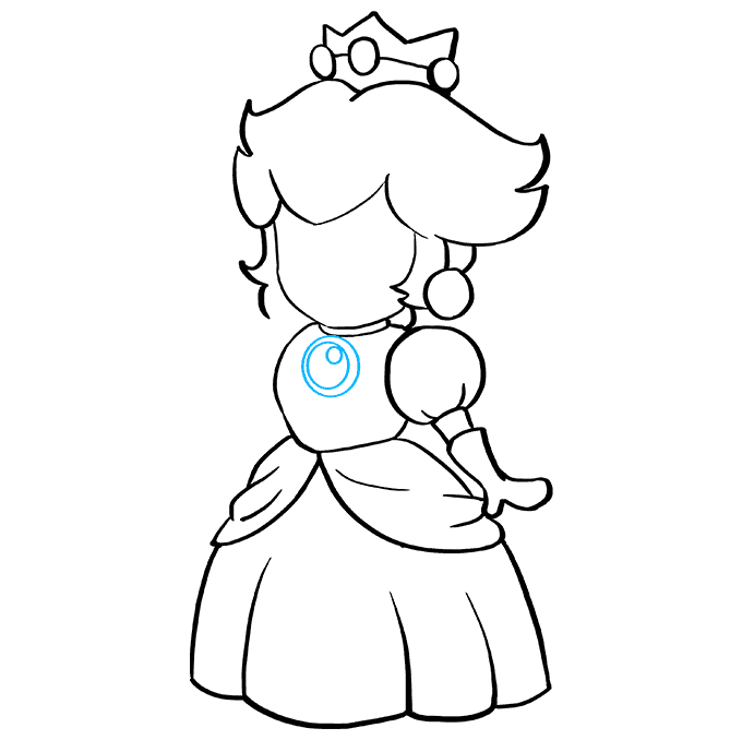 How to Draw Princess Peach from Super Mario Bros Step 07