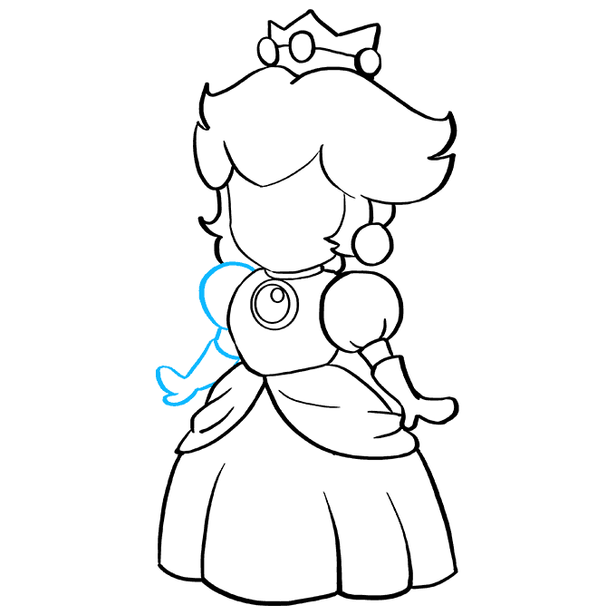 How to Draw Princess Peach from Super Mario Bros: Step 8