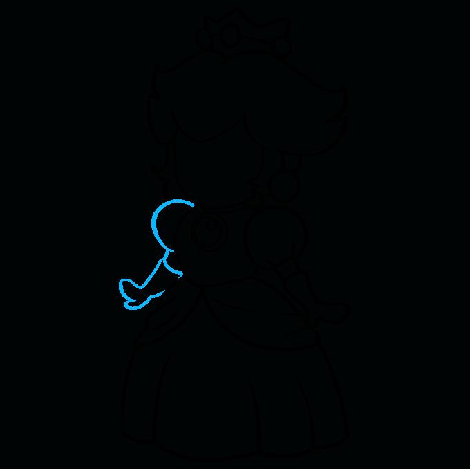 How to Draw Princess Peach from Super Mario Bros Step 08