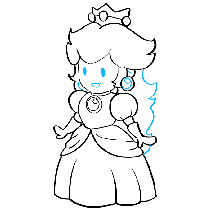 How to Draw Princess Peach from Super Mario Bros: Step 9
