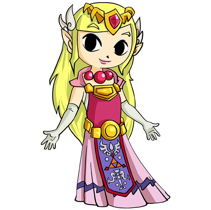 How to Draw Princess Zelda: Step 10