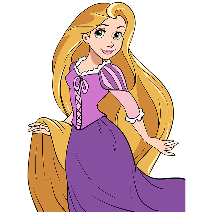 How to Draw Rapunzel from Tangled Step 10