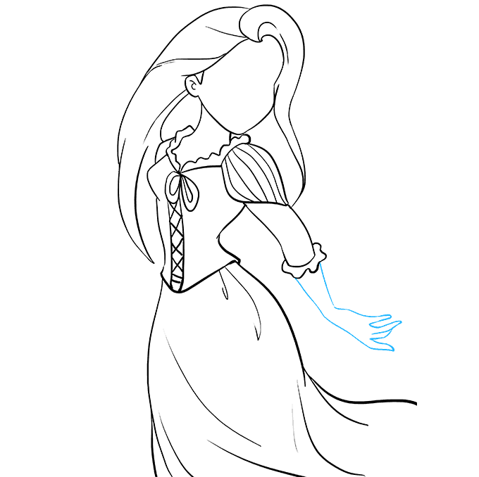 How to Draw Rapunzel from Tangled: Step 6