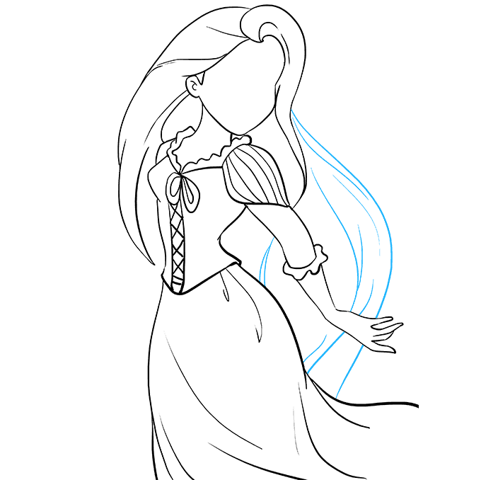 How to Draw Rapunzel from Tangled: Step 7