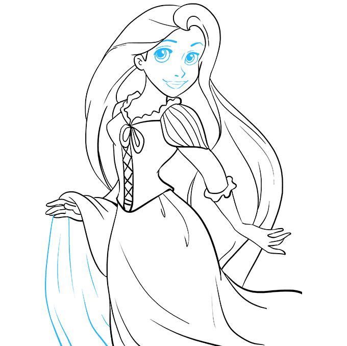 How to Draw Rapunzel from Tangled: Step 9