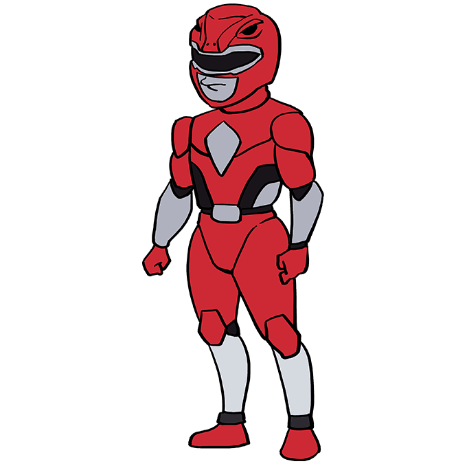How to Draw The Red Ranger from Power Rangers: Step 10