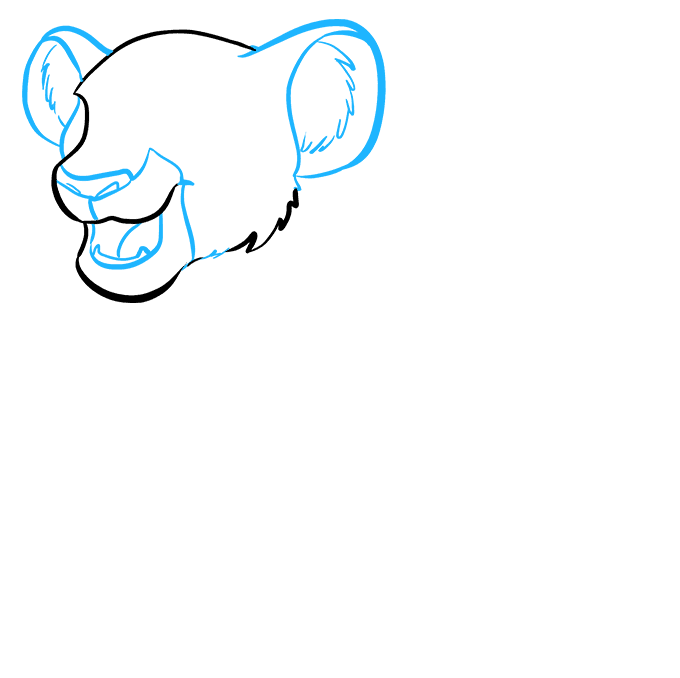 How to Draw Simba from the Lion King: Step 2