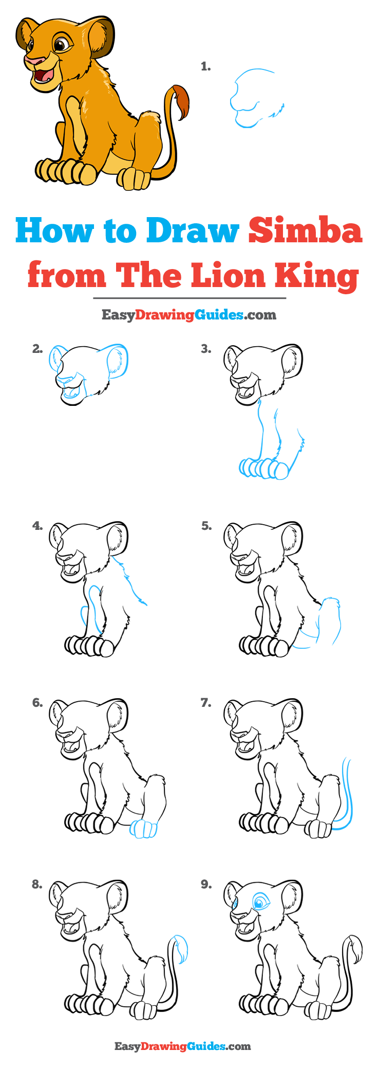 How to Draw Simba from the Lion King Step by Step Tutorial Image