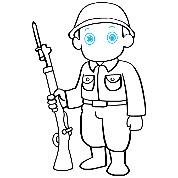 How to Draw Soldier: Step 8