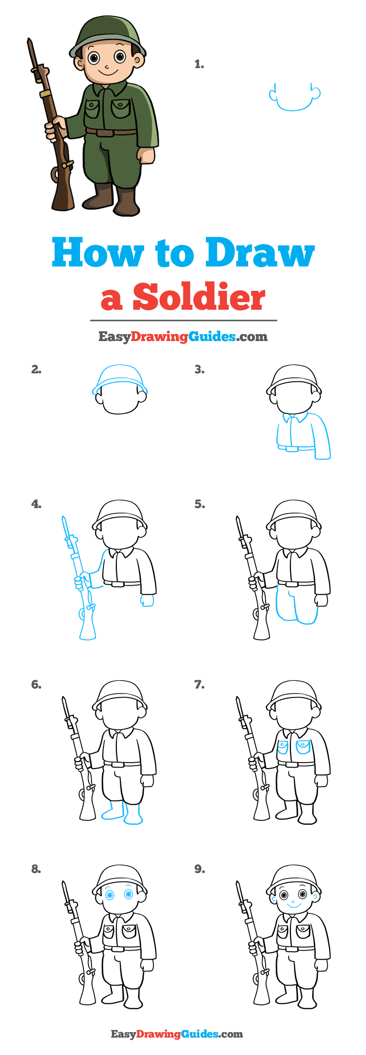 How to Draw a Soldier - Really Easy Drawing Tutorial