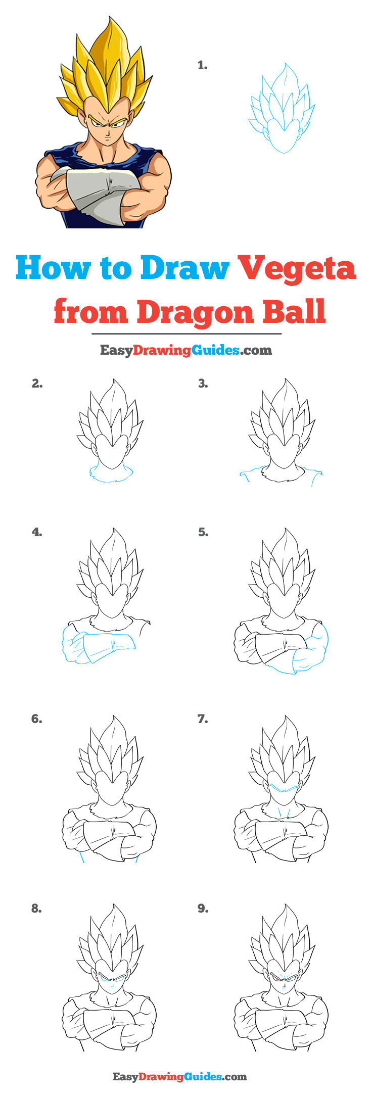 How to Draw Vegeta from Dragon Ball
