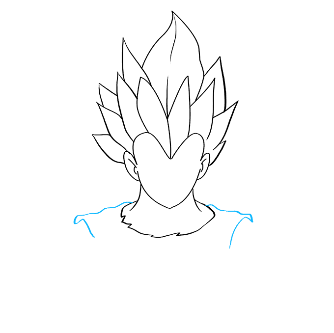 How to Draw Vegeta from Dragon Ball: Step 3