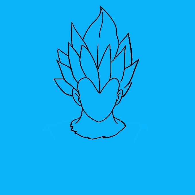 Cómo dibujar Vegeta de Dragon Ball: Paso 3