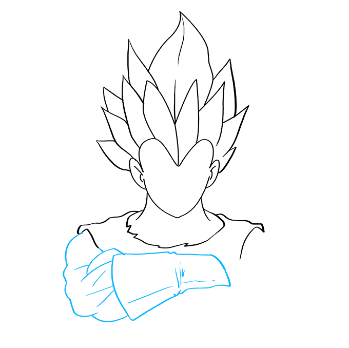 Cómo dibujar Vegeta de Dragon Ball: Paso 4