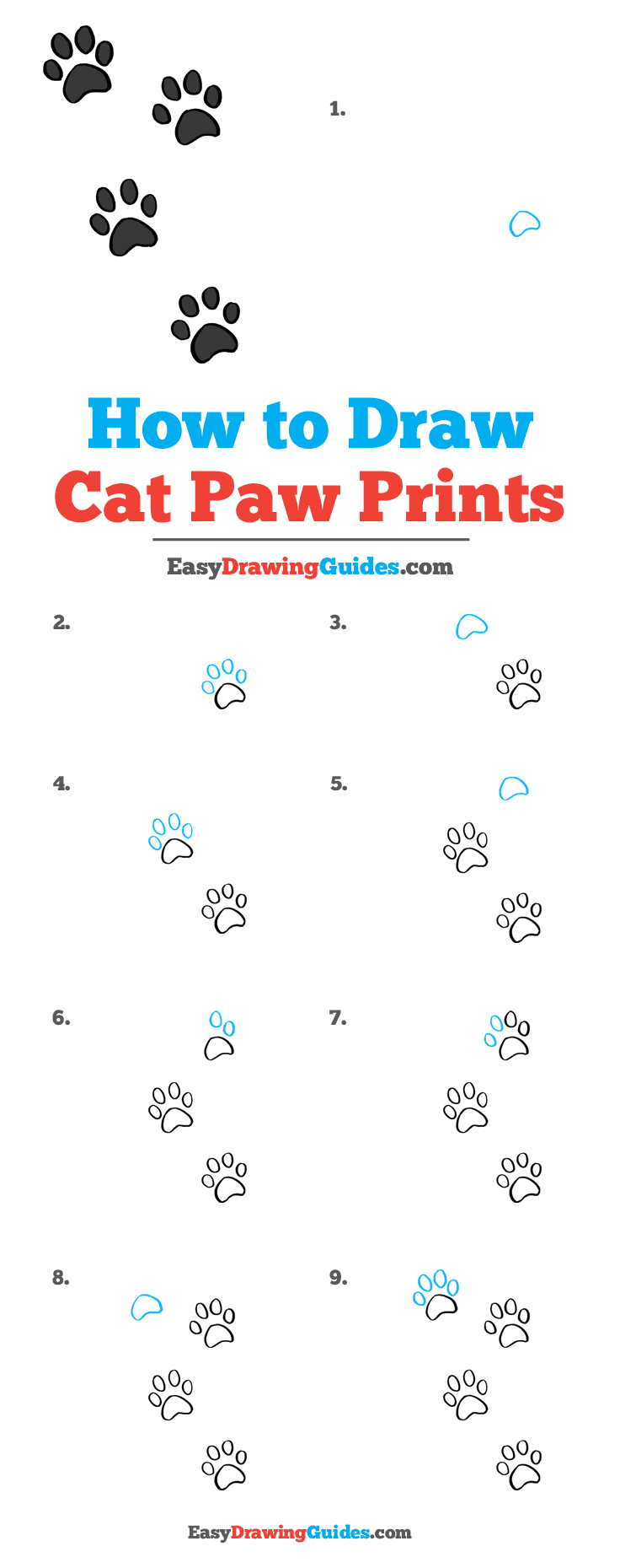 How to Draw Cat Paw Prints