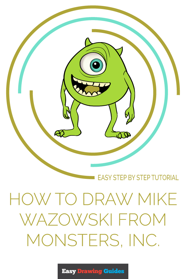 How to Draw Mike Wazowski from Monsters, Inc. | Share to Pinterest