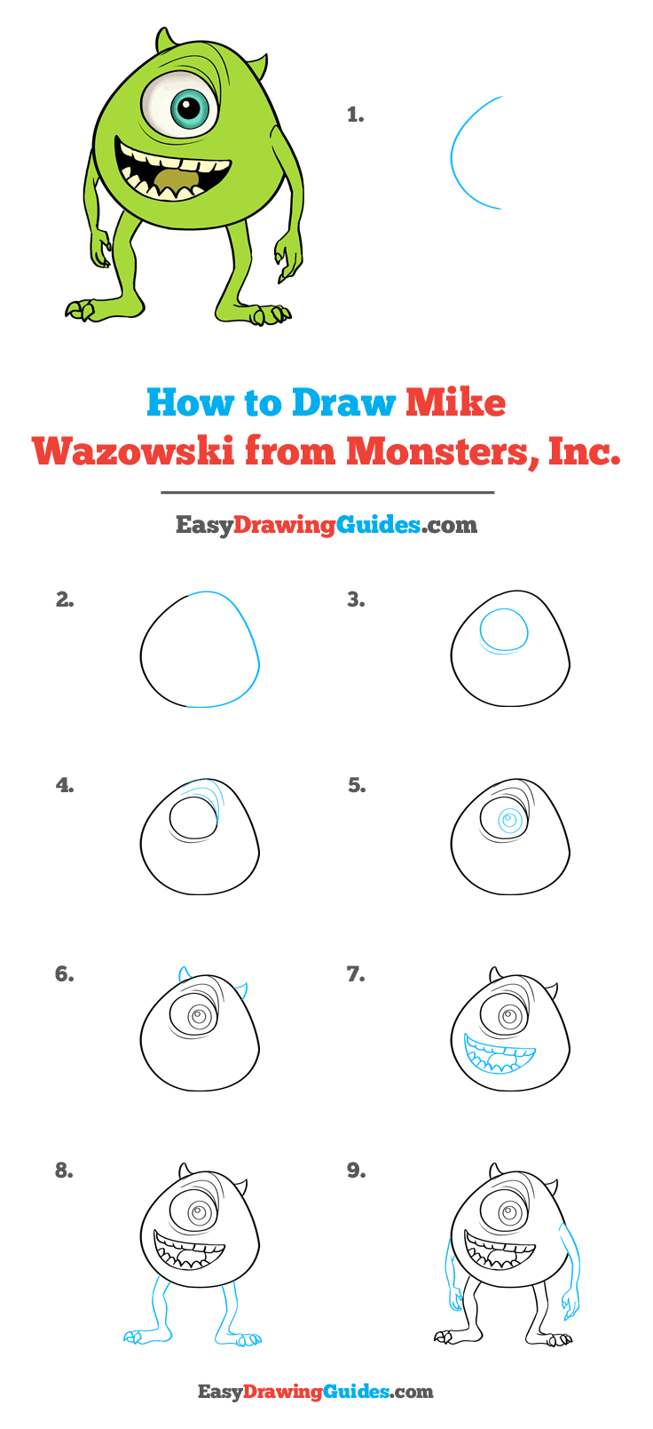 How to Draw Mike Wazowski from Monsters, Inc.