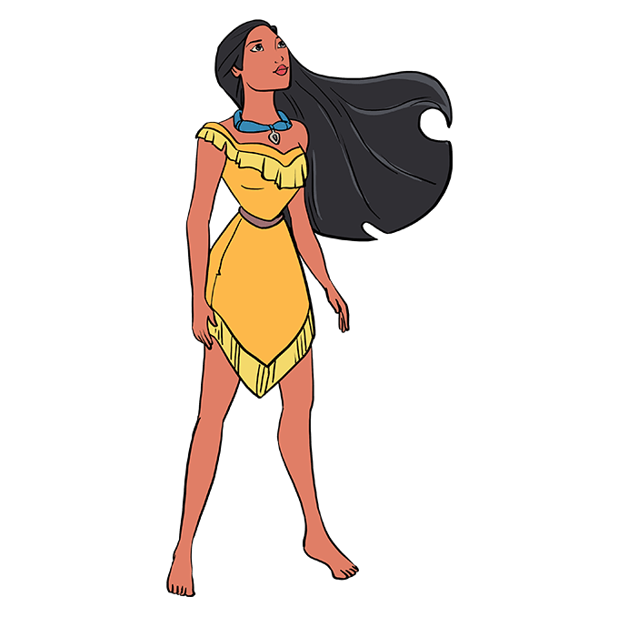 How to Draw Pocahontas: Step 10