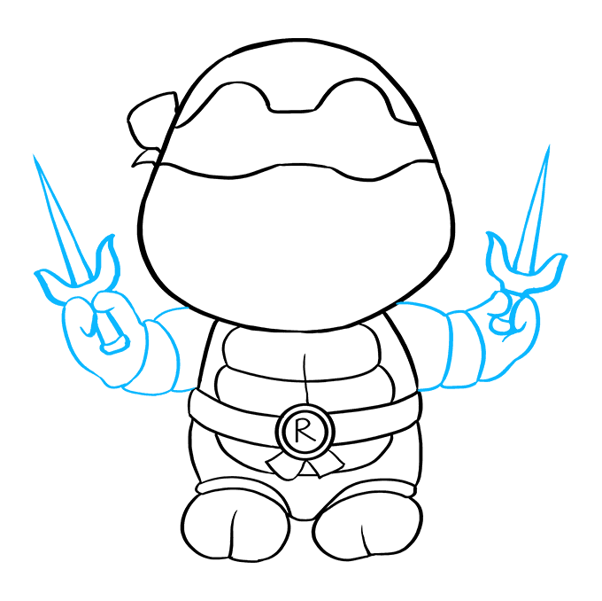 How to Draw Raphael from Teenage Mutant Ninja Turtle Step 08