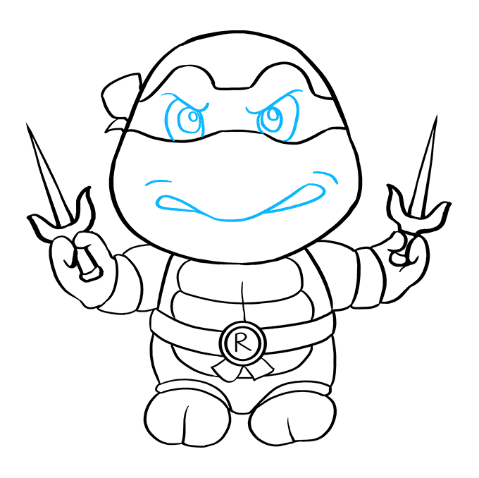 How to Draw Raphael from Teenage Mutant Ninja Turtles: Step 9