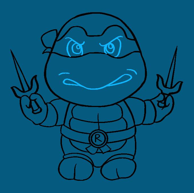 How to Draw Raphael from Teenage Mutant Ninja Turtle Step 09