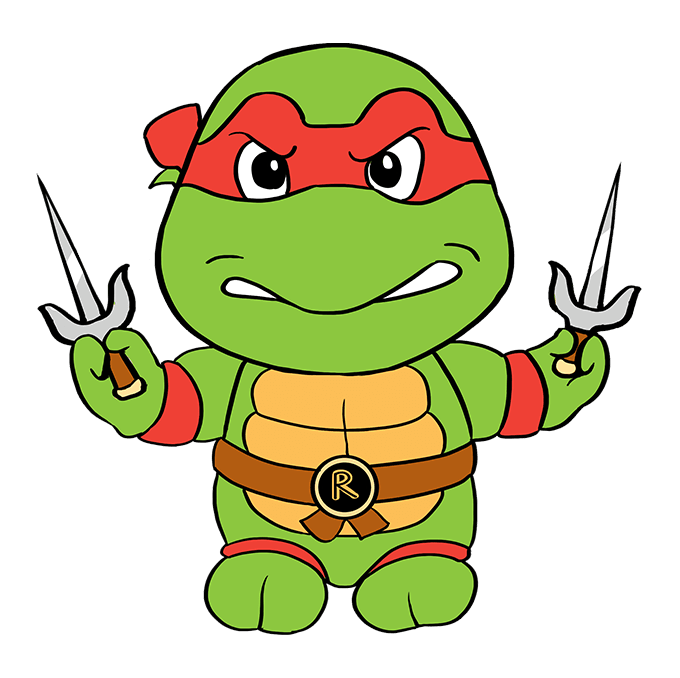 How to Draw Raphael from Teenage Mutant Ninja Turtles: Step 10