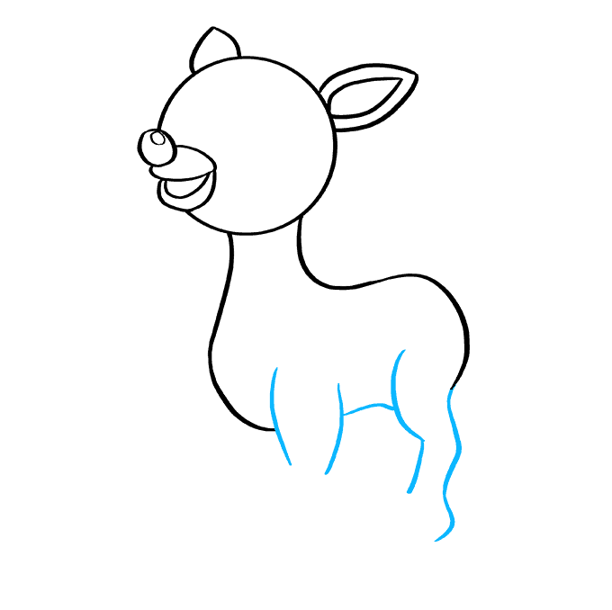 How to Draw Rudolph the Red-Nosed Reindeer: Step 6