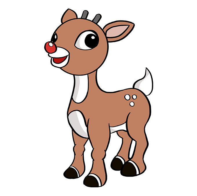 How to Draw Rudolph the Red-Nosed Reindeer: Step 10