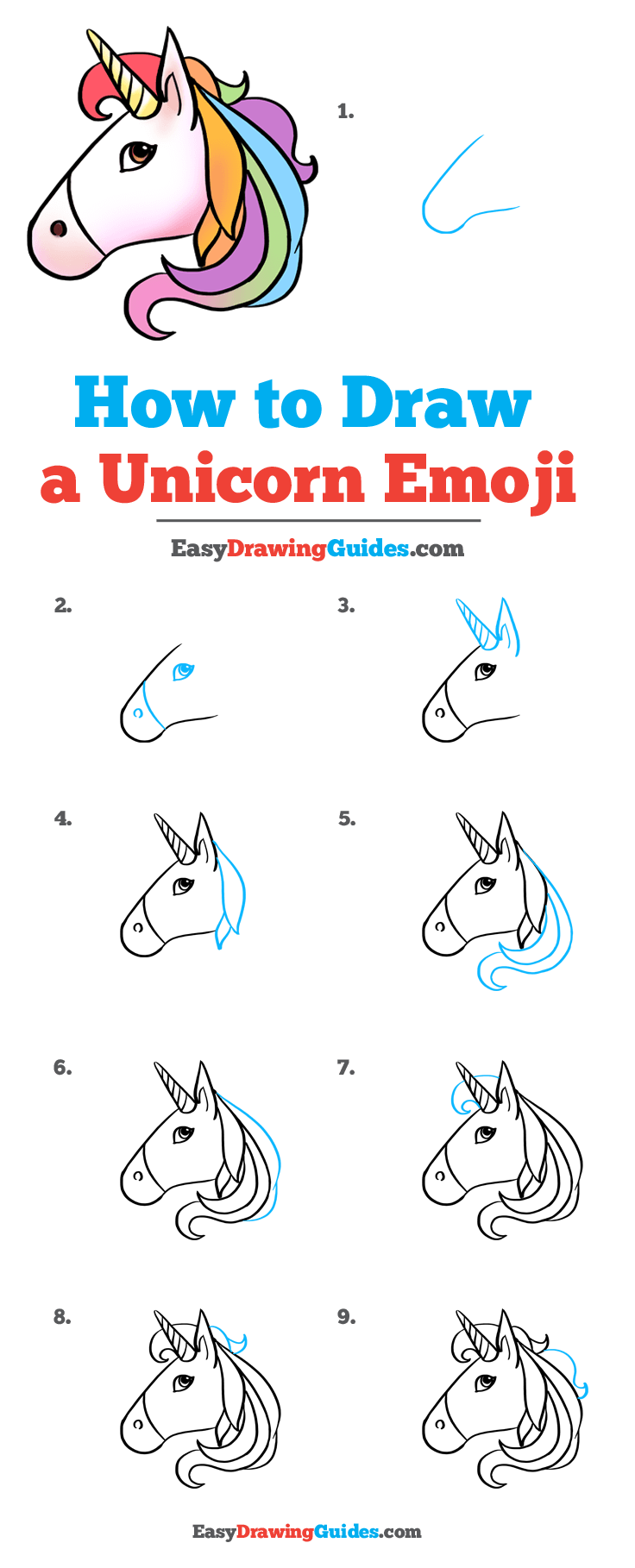 How to Draw Unicorn Emoji