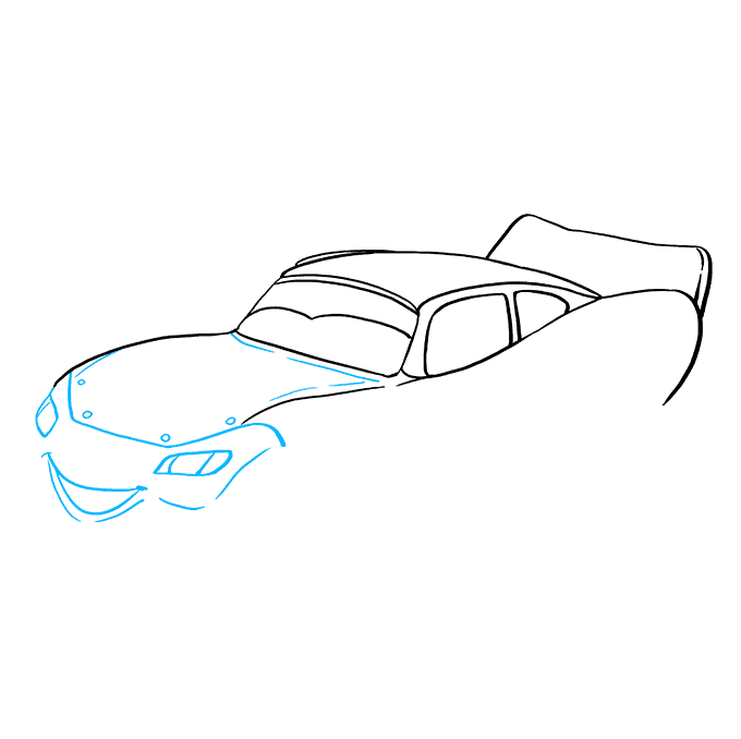 How to Draw Lightning McQueen: Step 7