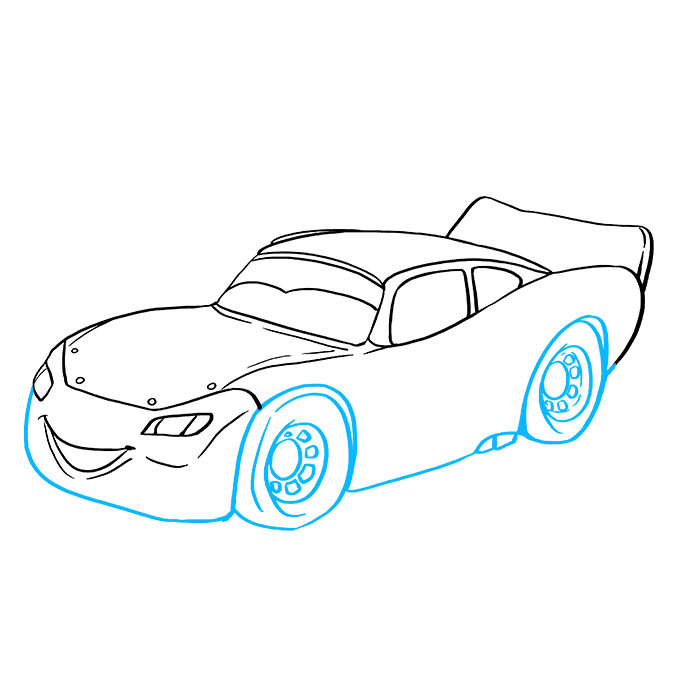 How to Draw Lightning McQueen: Step 8
