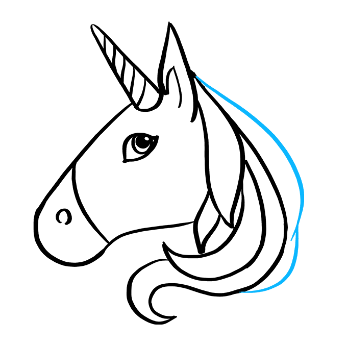 How to Draw Unicorn Emoji: Step 6