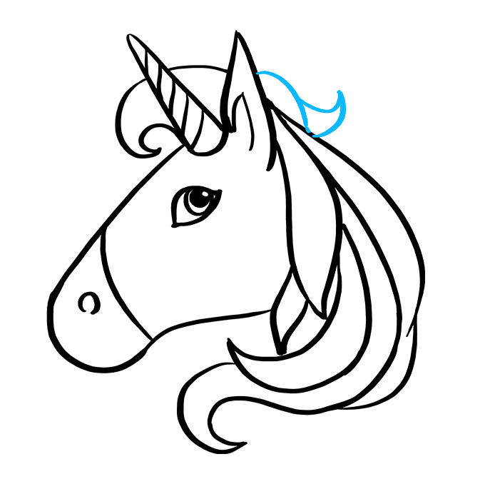 How to Draw Unicorn Emoji: Step 8