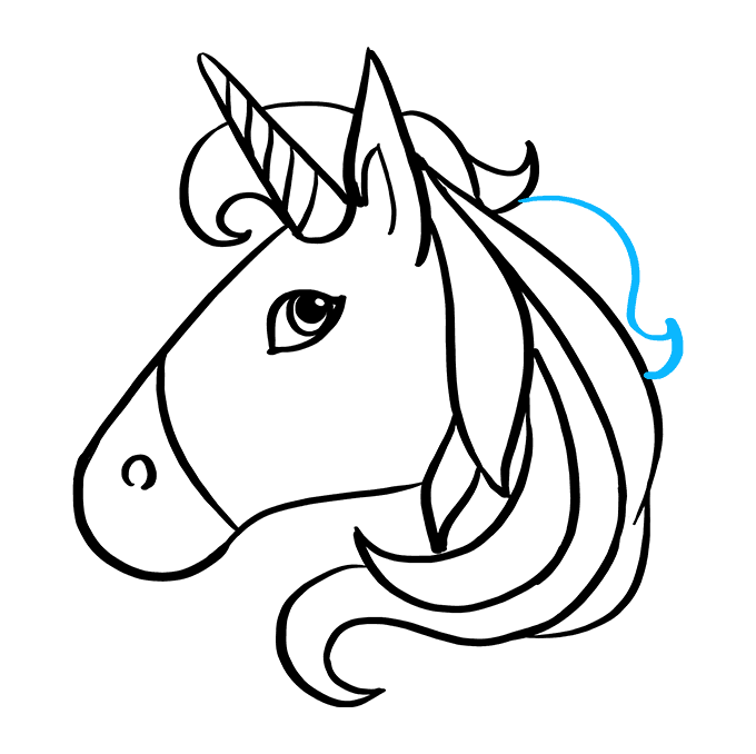 How to Draw Unicorn Emoji: Step 9