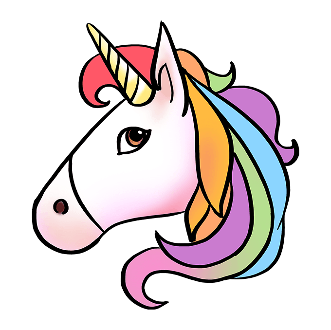 How to Draw Unicorn Emoji: Step 10