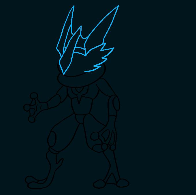 How to Draw Ash Greninja Pokémon Step 08