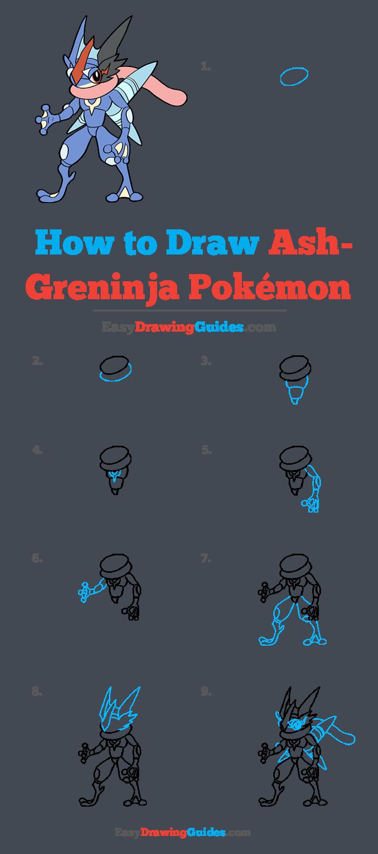 How to Draw Ash-Greninja from Pokémon